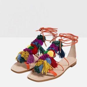 Zara Lace Up Pom Pom sandals